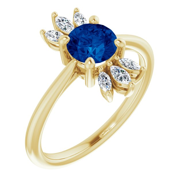 Genuine Chatham Created Sapphire Ring in 14 Karat Yellow Gold Chatham Lab-Created Genuine Sapphire & 1/4 Carat Diamond Ring