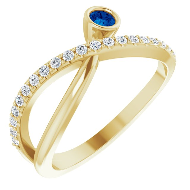 Genuine Chatham Created Sapphire Ring in 14 Karat Yellow Gold Chatham Lab-Created Genuine Sapphire & 1/5 Carat Diamond Ring