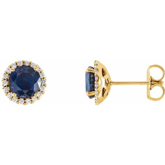 Created Sapphire Earrings in 14 Karat Yellow Gold Chatham Lab-Created Genuine Sapphire & 1/6 Carat Diamond Earrings
