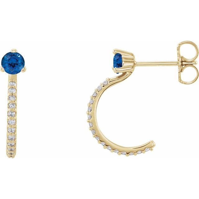 Created Sapphire Earrings in 14 Karat Yellow Gold Chatham Lab-Created Genuine Sapphire & 1/6 Carat Diamond Hoop Earrings