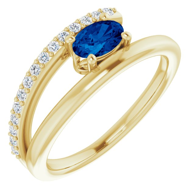 Genuine Chatham Created Sapphire Ring in 14 Karat Yellow Gold Chatham Lab-Created Genuine Sapphire & 1/8 Carat Diamond Ring