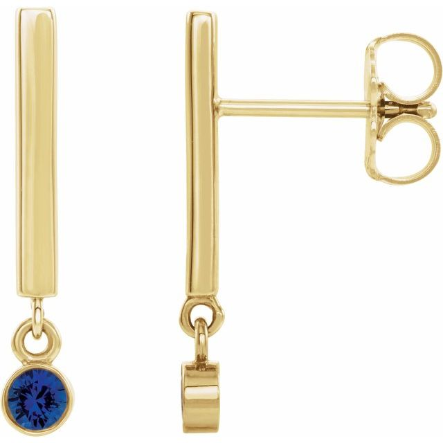 Created Sapphire Earrings in 14 Karat Yellow Gold Chatham Lab-Created Genuine Sapphire Bar Earrings