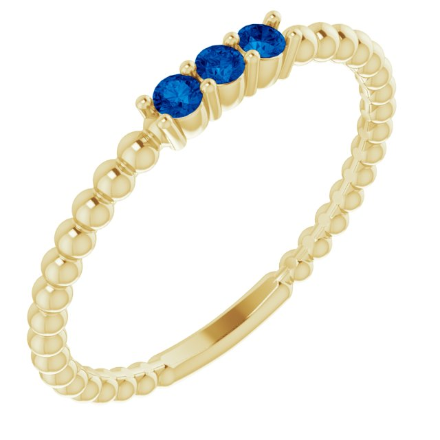 Genuine Chatham Created Sapphire Ring in 14 Karat Yellow Gold ChathamLab-Created Genuine Sapphire Beaded Ring