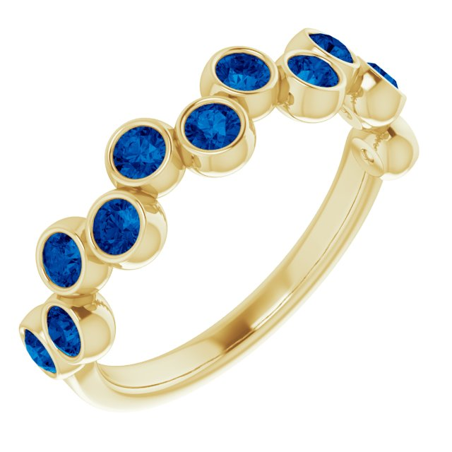 Genuine Chatham Created Sapphire Ring in 14 Karat Yellow Gold Chatham Lab-Created Genuine Sapphire Bezel-Set Ring