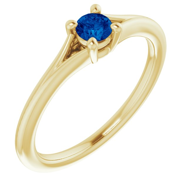 Genuine Chatham Created Sapphire Ring in 14 Karat Yellow Gold Chatham Lab-Created Genuine Sapphire Youth Solitaire Ring