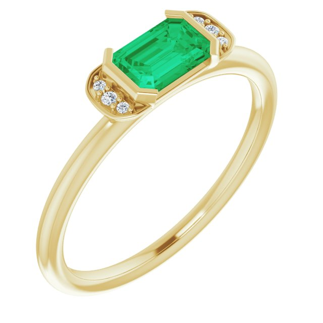 Genuine Chatham Created Emerald Ring in 14 Karat Yellow Gold Chatham Lab-Created Emerald & .02 Carat Diamond Ring