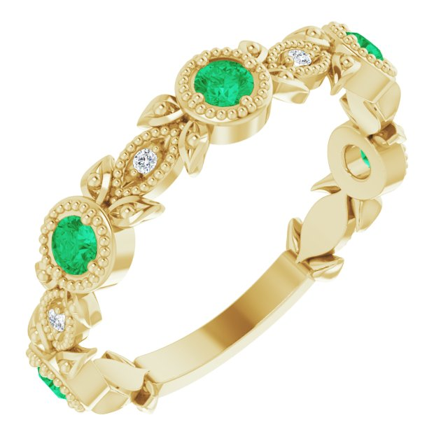 Genuine Chatham Created Emerald Ring in 14 Karat Yellow Gold Chatham Lab-Created Emerald & .03 Carat Diamond Ring