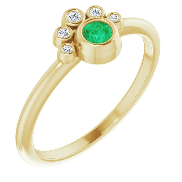 Genuine Chatham Created Emerald Ring in 14 Karat Yellow Gold Chatham Lab-Created Emerald & .04 Carat Diamond Ring