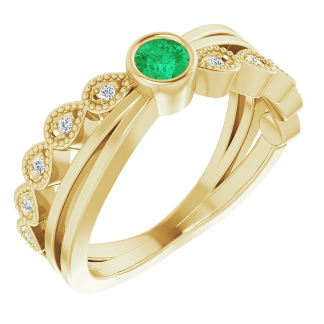 Genuine Chatham Created Emerald Ring in 14 Karat Yellow Gold Chatham Lab-Created Emerald & .05 Carat Diamond Ring