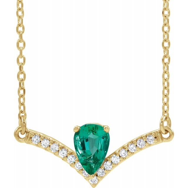Chatham Created Emerald Necklace in 14 Karat Yellow Gold Chatham Lab-Created Emerald & .06 Carat Diamond 16