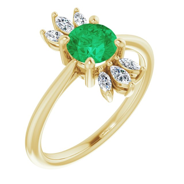 Genuine Chatham Created Emerald Ring in 14 Karat Yellow Gold Chatham Lab-Created Emerald & 1/4 Carat Diamond Ring