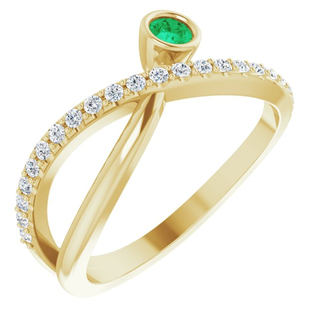 Genuine Chatham Created Emerald Ring in 14 Karat Yellow Gold Chatham Lab-Created Emerald & 1/5 Carat Diamond Ring