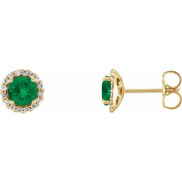 Chatham Created Emerald Earrings in 14 Karat Yellow Gold Chatham Lab-Created Emerald & 1/8 Carat Diamond Earrings
