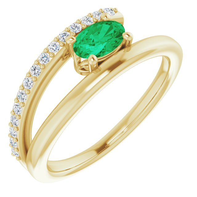 Genuine Chatham Created Emerald Ring in 14 Karat Yellow Gold Chatham Lab-Created Emerald & 1/8 Carat Diamond Ring