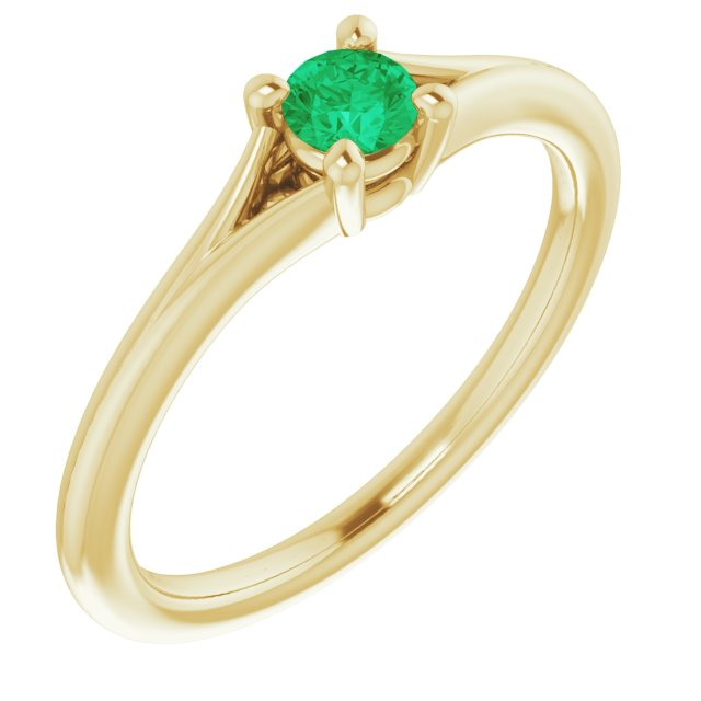 Genuine Chatham Created Emerald Ring in 14 Karat Yellow Gold Chatham Lab-Created Emerald Youth Solitaire Ring