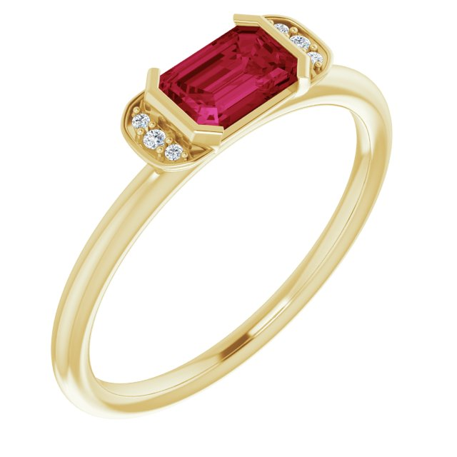 Chatham Created Ruby Ring in 14 Karat Yellow Gold Chatham Lab-Created Ruby & .02 Carat Diamond Ring