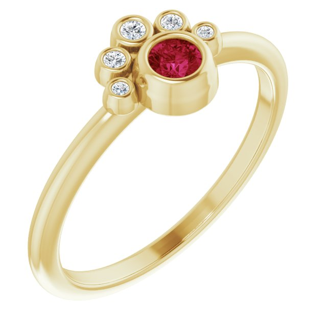 Chatham Created Ruby Ring in 14 Karat Yellow Gold Chatham Lab-Created Ruby & .04 Carat Diamond Ring