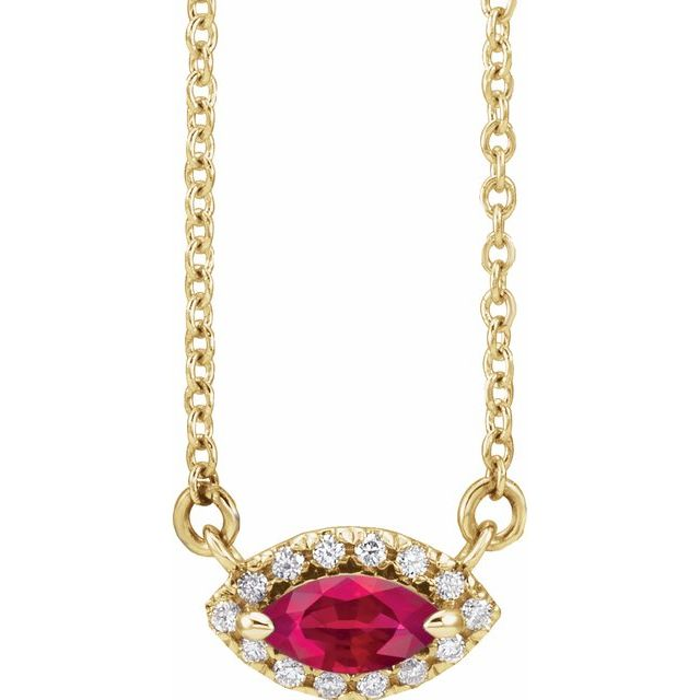 Chatham Created Ruby Necklace in 14 Karat Yellow Gold Chatham Lab-Created Ruby & .05 Carat Diamond Halo-Style 16