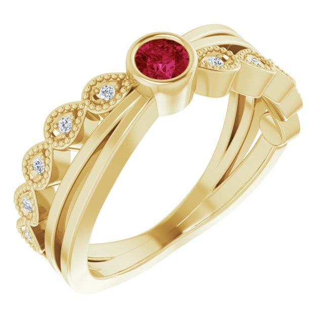 Chatham Created Ruby Ring in 14 Karat Yellow Gold Chatham Lab-Created Ruby & .05 Carat Diamond Ring