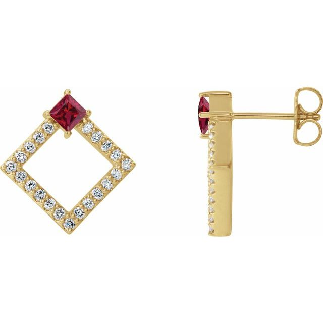 Created Ruby Earrings in 14 Karat Yellow Gold Chatham Lab-Created Ruby & 1/3 Carat Diamond Earrings