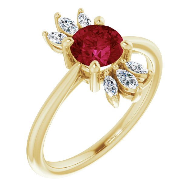 Chatham Created Ruby Ring in 14 Karat Yellow Gold Chatham Lab-Created Ruby & 1/4 Carat Diamond Ring