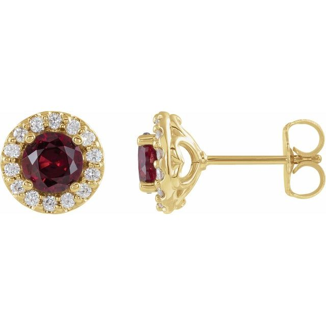 Created Ruby Earrings in 14 Karat Yellow Gold Chatham Lab-Created Ruby & 1/4 Diamond Earrings