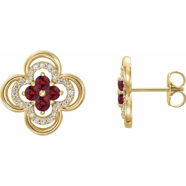Chatham Created Ruby Earrings in 14 Karat Yellow Gold Chatham Lab-Created Ruby & 1/5 Carat Diamond Clover Earrings