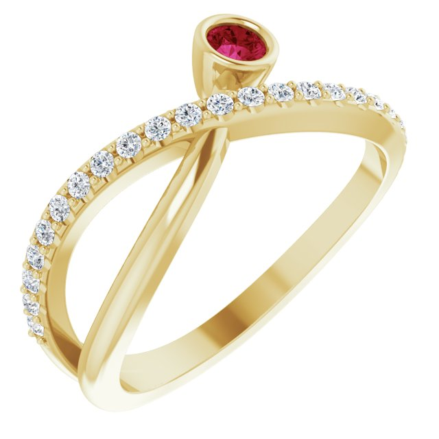 Chatham Created Ruby Ring in 14 Karat Yellow Gold Chatham Lab-Created Ruby & 1/5 Carat Diamond Ring