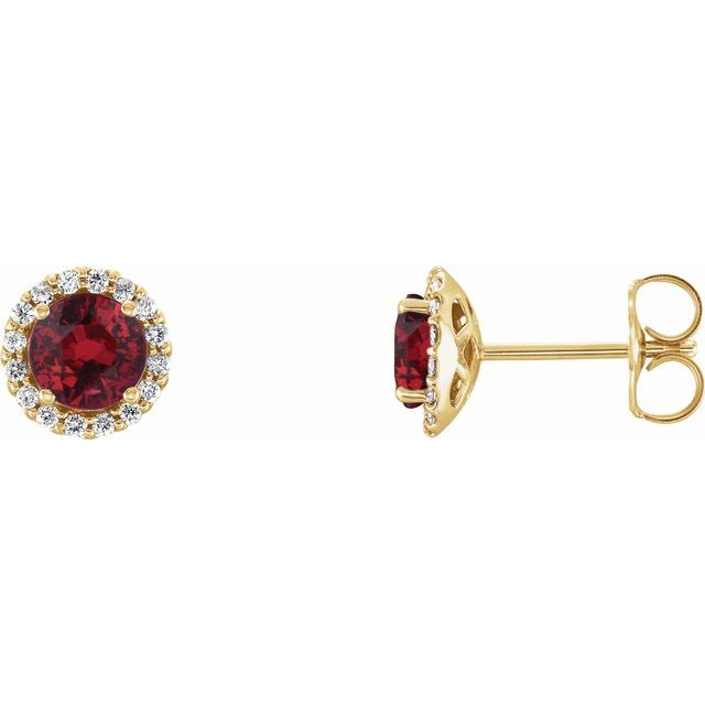 Chatham Created Ruby Earrings in 14 Karat Yellow Gold Chatham Lab-Created Ruby & 1/6 Carat Diamond Earrings