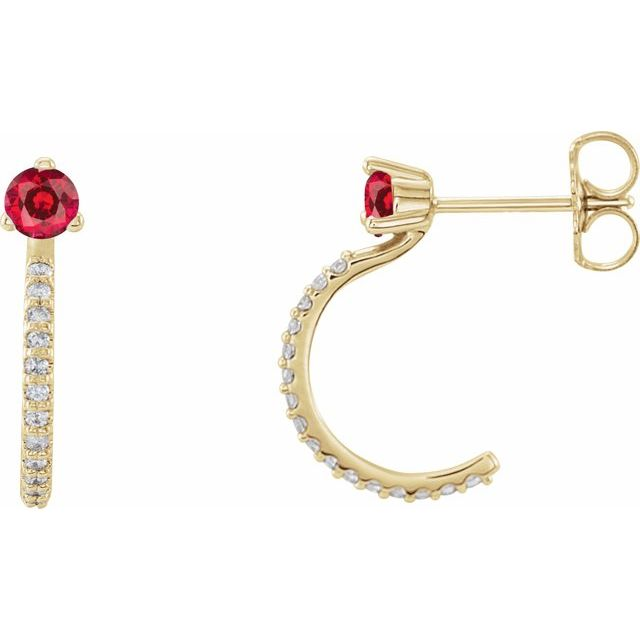 Chatham Created Ruby Earrings in 14 Karat Yellow Gold Chatham Lab-Created Ruby & 1/6 Carat Diamond Hoop Earrings