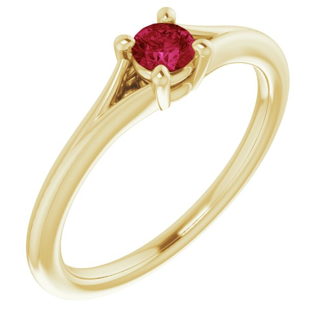 Chatham Created Ruby Ring in 14 Karat Yellow Gold Chatham Lab-Created Ruby Youth Solitaire Ring