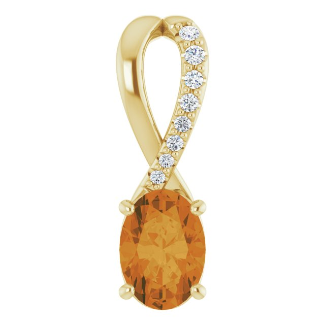 Golden Citrine Pendant in 14 Karat Yellow Gold Citrine & .04 Carat Diamond Pendant