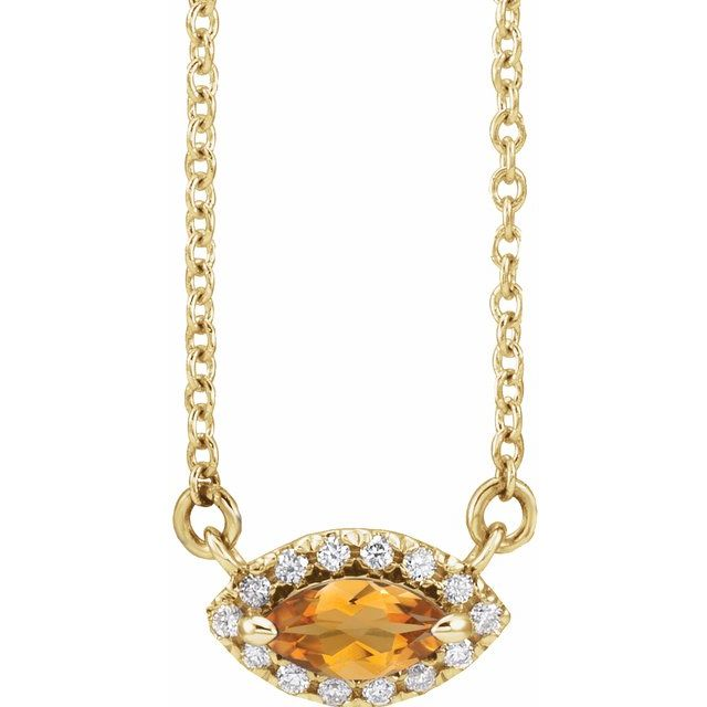 Golden Citrine Necklace in 14 Karat Yellow Gold Citrine & .05 Carat Diamond Halo-Style 16