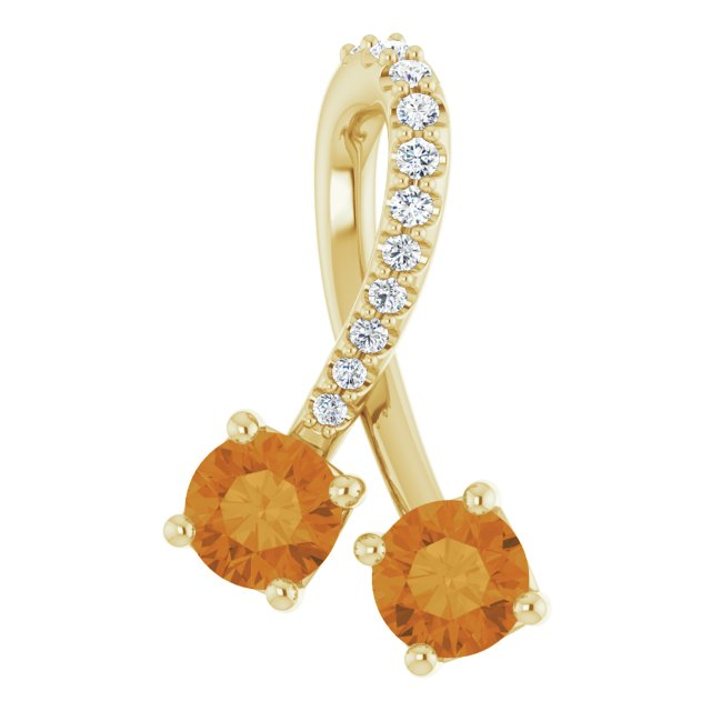 Golden Citrine Pendant in 14 Karat Yellow Gold Citrine & .05 Carat Diamond Pendant