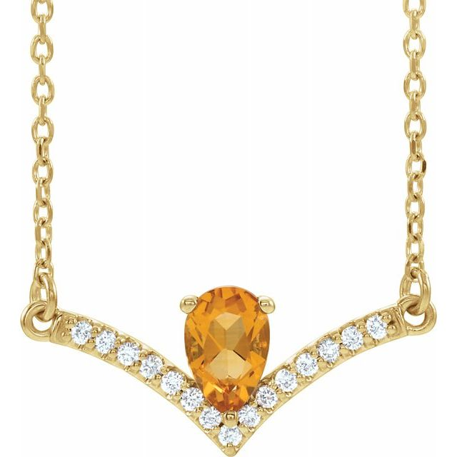 Golden Citrine Necklace in 14 Karat Yellow Gold Citrine & .06 Carat Diamond 18