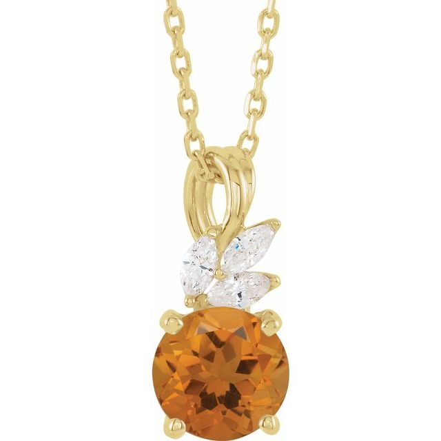 Golden Citrine Necklace in 14 Karat Yellow Gold Citrine & 1/10 Carat Diamond 16-18