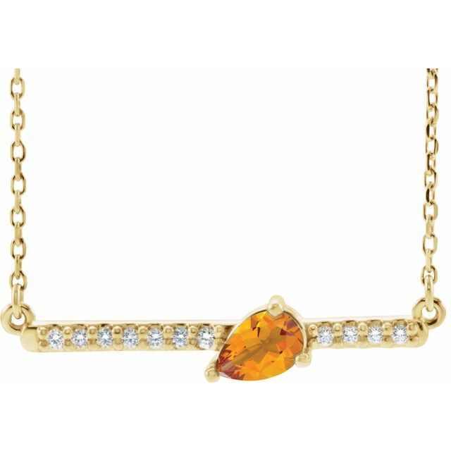 Golden Citrine Necklace in 14 Karat Yellow Gold Citrine & 1/10 Carat Diamond 18