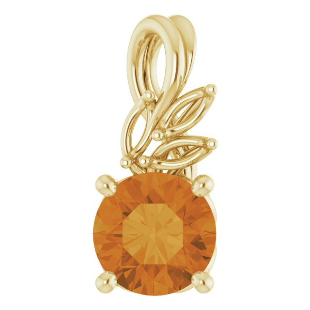 Golden Citrine Pendant in 14 Karat Yellow Gold Citrine & 1/10 Carat Diamond Pendant