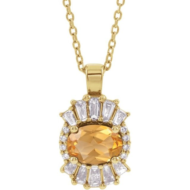 Golden Citrine Necklace in 14 Karat Yellow Gold Citrine & 1/3 Carat Diamond 16-18