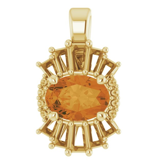 Golden Citrine Pendant in 14 Karat Yellow Gold Citrine & 1/3 Carat Diamond Pendant