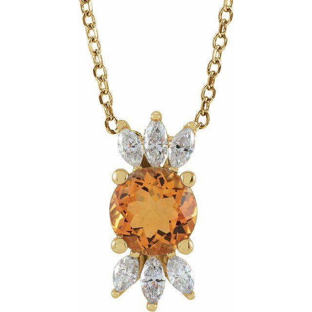 Golden Citrine Necklace in 14 Karat Yellow Gold Citrine & 1/4 Carat Diamond 16-18