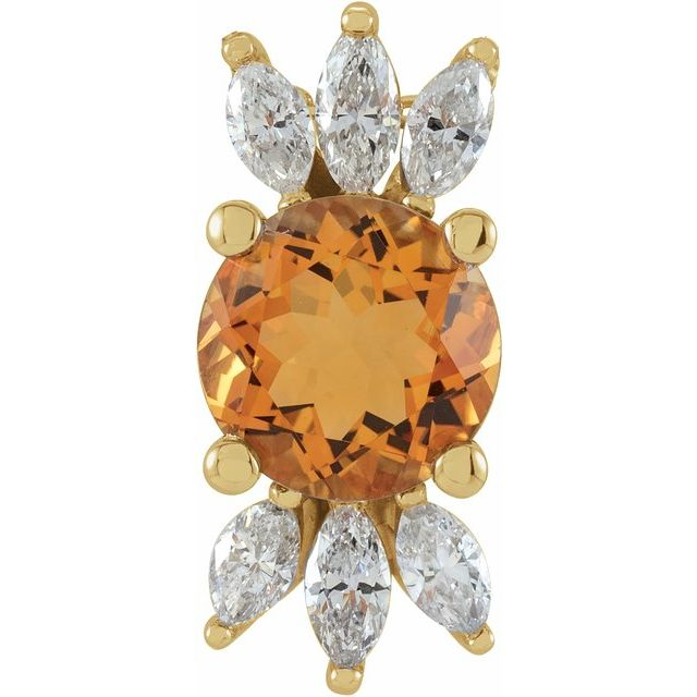 Golden Citrine Pendant in 14 Karat Yellow Gold Citrine & 1/4 Carat Diamond Pendant