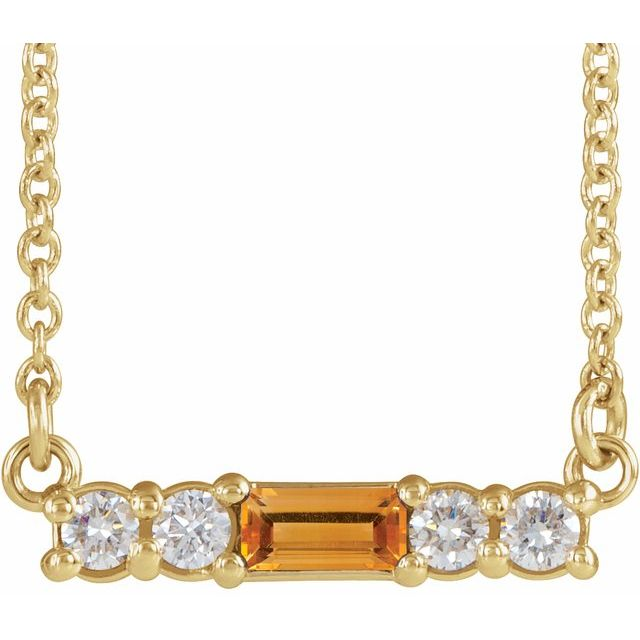 Golden Citrine Necklace in 14 Karat Yellow Gold Citrine & 1/5 Carat Diamond 18