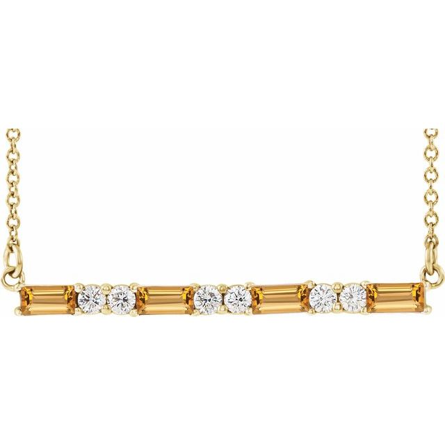 Golden Citrine Necklace in 14 Karat Yellow Gold Citrine & 1/5 Carat Diamond Bar 16-18