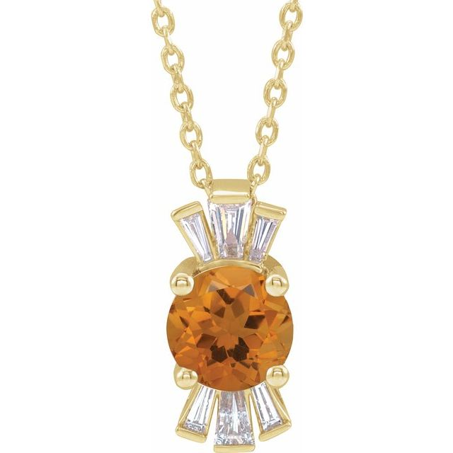 Golden Citrine Necklace in 14 Karat Yellow Gold Citrine & 1/6 Carat Diamond 16-18