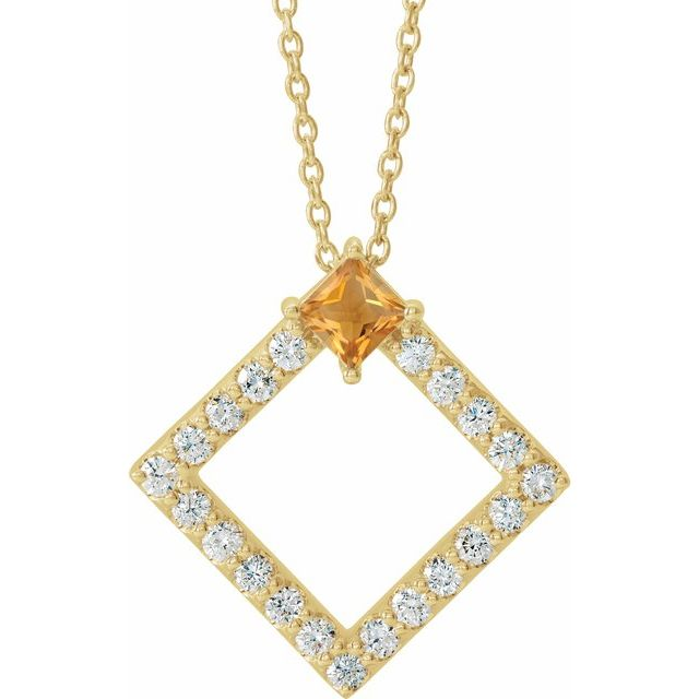 Golden Citrine Necklace in 14 Karat Yellow Gold Citrine & 3/8 Carat Diamond 16-18