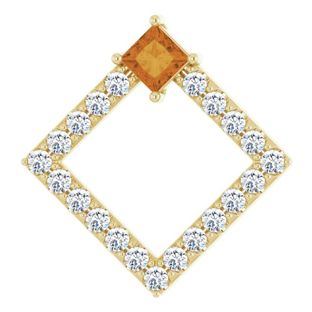 Golden Citrine Pendant in 14 Karat Yellow Gold Citrine & 3/8 Carat Diamond Pendant