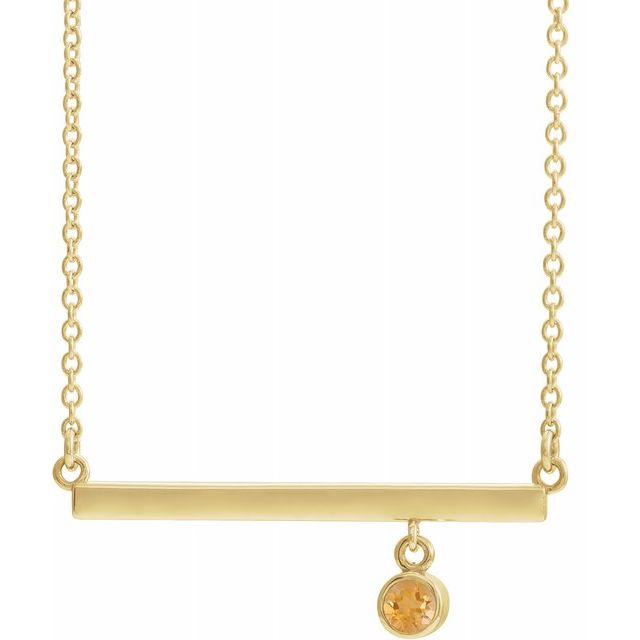 Golden Citrine Necklace in 14 Karat Yellow Gold Citrine Bezel-Set 16