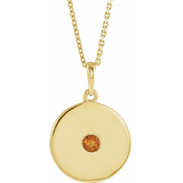 Golden Citrine Necklace in 14 Karat Yellow Gold Citrine Disc 16-18