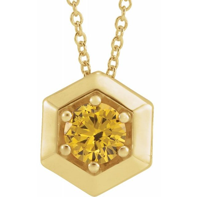 Golden Citrine Necklace in 14 Karat Yellow Gold Citrine Geometric 16-18